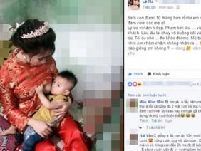 Cô dâu trong ngày cưới kéo váy cho con bú gây xôn xao trên mạng